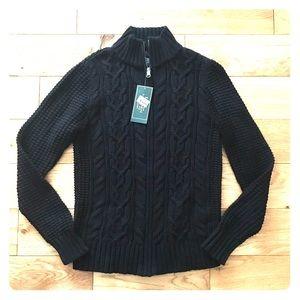 Ralph Lauren Zip Up cardigan sweater cable knit